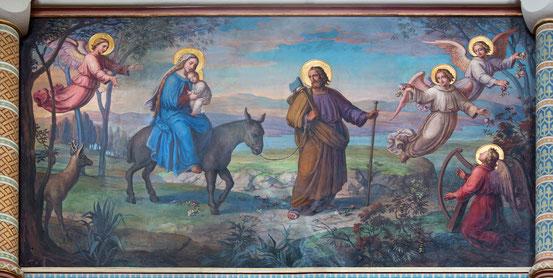 Flucht der Heiligen Familie nach Ägypten, Fresco von Josef Kastner in der Karmeliterkirche in Dobling