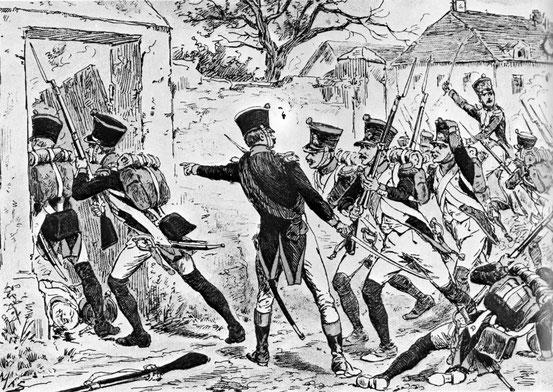 Prise du village d'Aderklaa par le 4e de Ligne. Le Régiment qui fait partie de la Division Carra Saint-Cyr s'empare vers 7 heures d'Aderklaa d'où il devra se retirer sous la pression des masses autrichiennes (d'après Tranié et Carmignani)