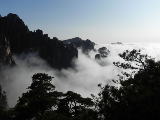 切り立った石山に雲海が立ちこめる世界遺産「黄山」