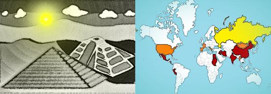 Hier eine Karte, wo Pyramiden am Land erbaut wurden. Rot: Gut erhalten und von hohem technischen Aufwand, Orange: Kleinere und nicht so gut erhaltende Pyramiden