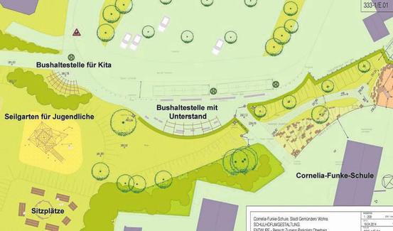 So soll es aussehen: Der Plan für die Umgestaltung des Umfeldes der Cornelia-Funke-Schule Gemünden. Grafik: Glöde /Bearbeitung: Dauber