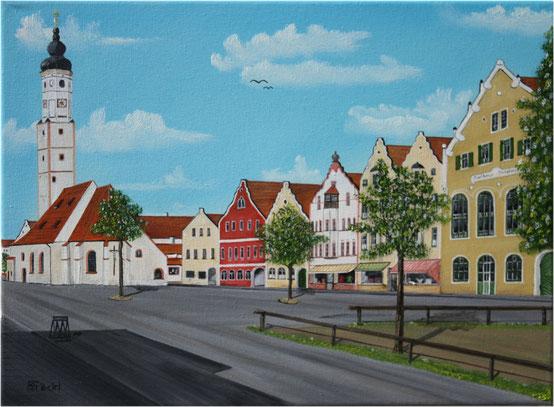 Nr. 114  Dorfen, Marktkirche, altes Postamt u. alte Sparkasse.