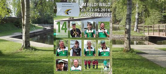 LM Feld/ Wald am 21./ 22.05.2016 in Hasselfelde, 9 Bogenschützen vom BSV Merkwitz-Wolfgang Specht, Paul u. Steffen Günther, Toralf Zeh, Uwe Schönfisch, Susan u. Frank Bienek, Gert Niendorf, Roland Krosch