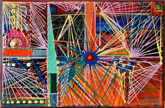 Linien noch und nöcher in mannigfachen Farben. Vielfalt der dinge des Lebens, der heutigen Epoche.