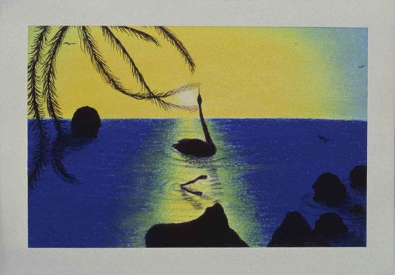 Bild:Sonnenuntergangstrilogie,d-t-b.ch,d-t-b,David Brandenberger,Biber,dave the beaver,Wachskreide,Malkreide,