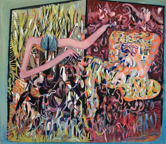k&a, 2016, oil and acrylic on canvas, 165 x 180 cm