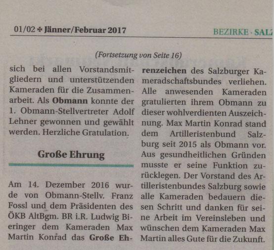 Kameradschaft Aktiv Jänner/Februar 2017
