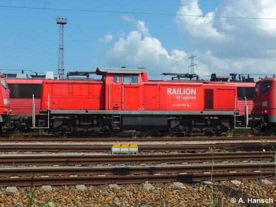 Auch 291 903-3 ist in Rostock Seehafen z-gestellt (22. Juli 2014)