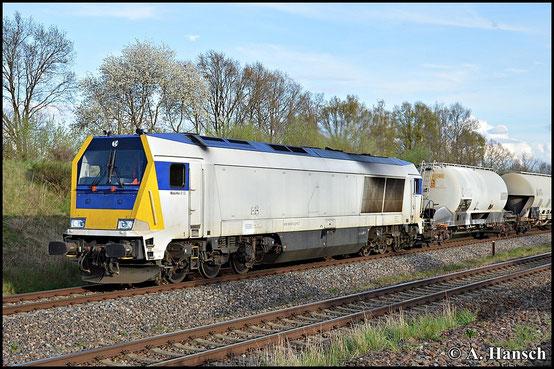 Am Abend des 26. April 2015 hat 263 001-0 den Leerkalkzug aus Chemnitz-Küchwald am Haken. Hier durchfährt die Fuhre Wittgensdorf ob. Bf.