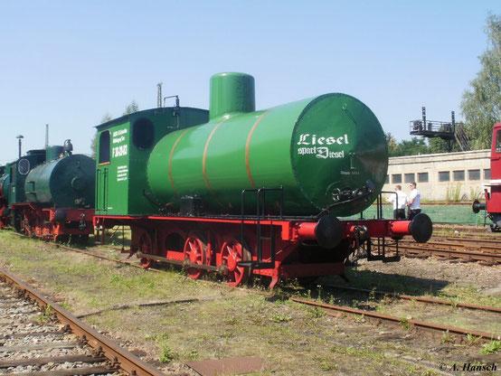 """Dampfspeicherlok C-FL Typ Helmstedt 1 stand ebenfalls am 22. August 2011 im SEM Chemnitz. Trotz des wahren Spruchs """"Liesel spart Diesel"""" ist die Zeit dieser Lokomotiven als Werksloks leider vorbei"""