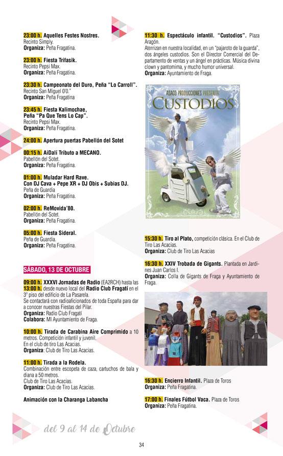 Programa de las Fiestas del Pilar en Fraga