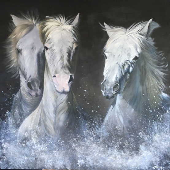 Paarden  -  Olieverf en Acryl op doek  100 x 100 cm