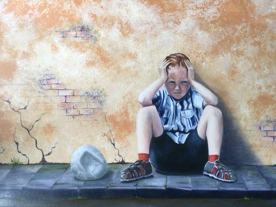 Pech - Olieverf en Acryl op doek  100 x 70 cm