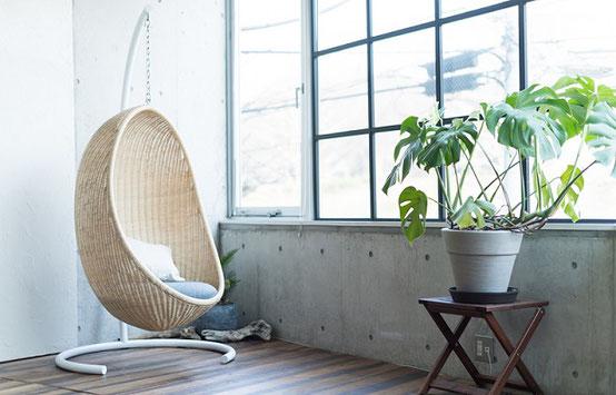 エッグチェア 一人掛け椅子 ヤマカワラタン 籐 栃木県 家具 インテリア