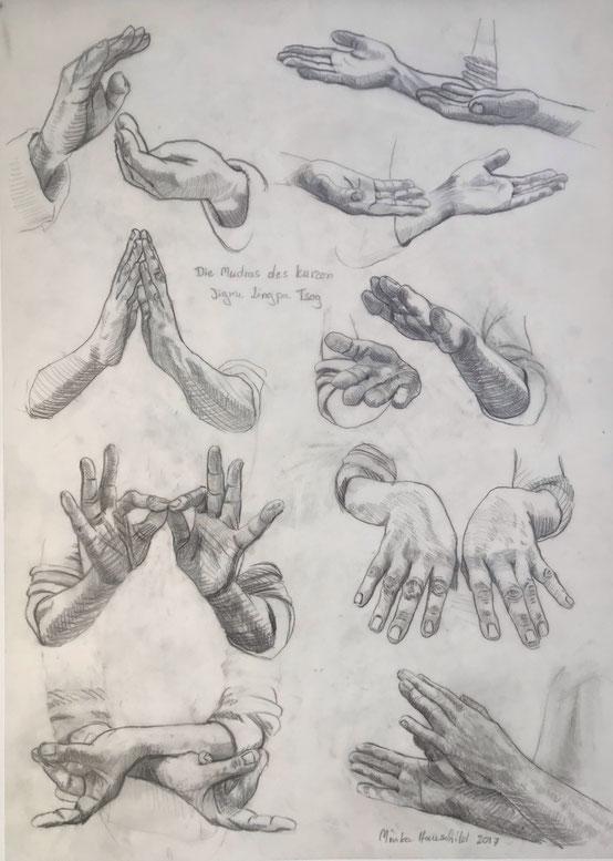 Handmudras, Zeichnung auf Transparentpapier, 50 x 70 cm , 2018