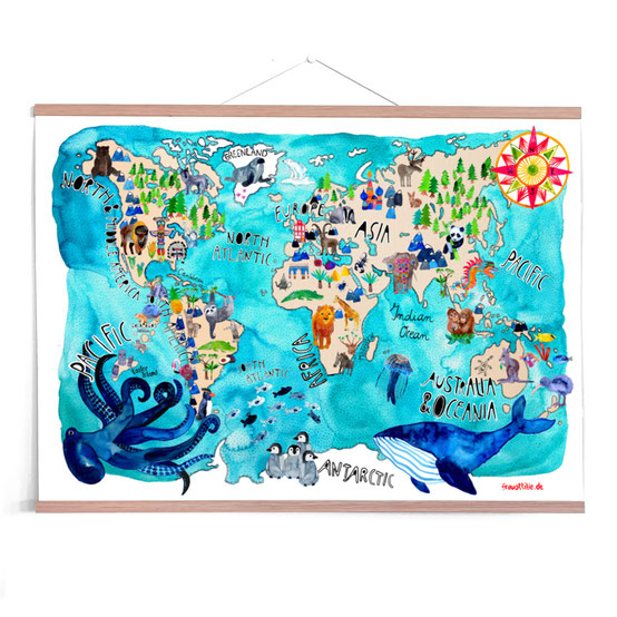 Nursery Poster *World Map of Animals*