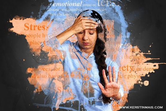 Gestresste depressive Frau im Alltag