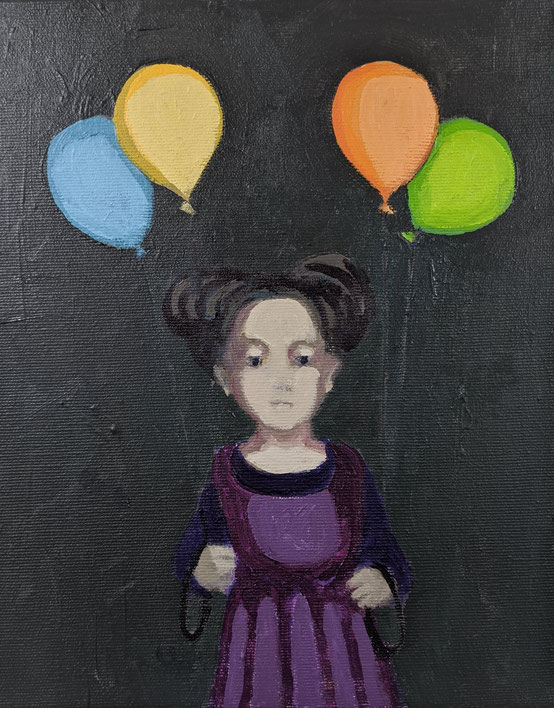 four balloons - Acryl auf Leinwand, 30x24cm, 2020