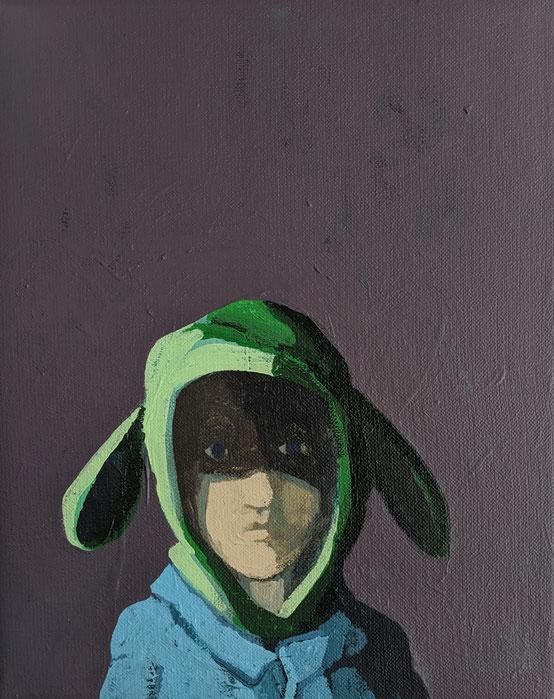 green ears - Acryl auf Leinwand, 30x24cm, 2019