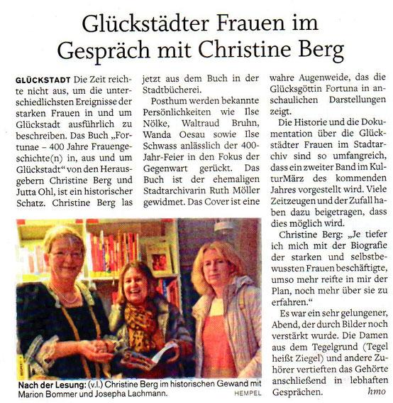 Glückstädter Frauen im Gespräch mit Christine Berg