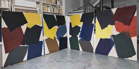S.F. 4 toiles dans l'atelier août/sept 2018  1,30m x 1,62m  ©bd-f
