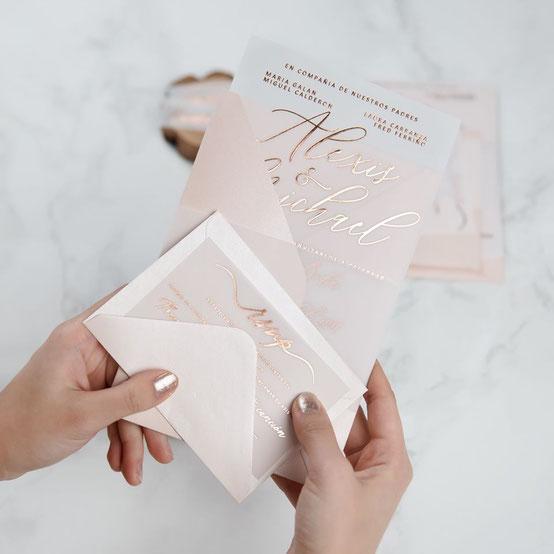 Hot Foil-Karte, hotfoil, transparent, Transparentpapier, Heißfolienprägung in Rose-Gold