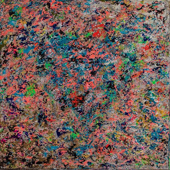 """Titel: """"PEACH INSOMNIA"""" (2016), 60 cm x 60 cm, 2016"""