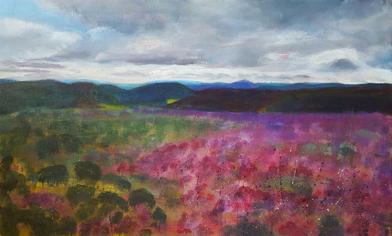 """View from Hatterrall Hill, Llanthony"" 36.6 x 60cm mixed media on cradled board. VHH01mm."