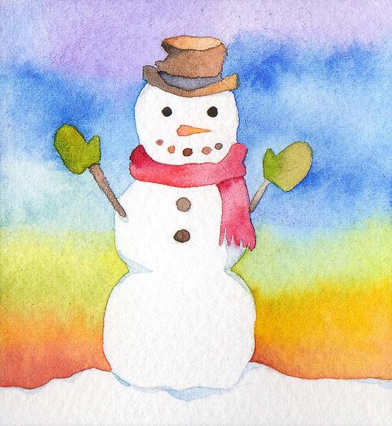 水彩画「little snowman」