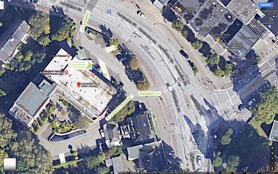Anfahrt - Kostenlose Parkplätze - Zahnärztliche Gemeinschaftspraxis Dr. Julia Tehsmer und Dr. Linda Bodart