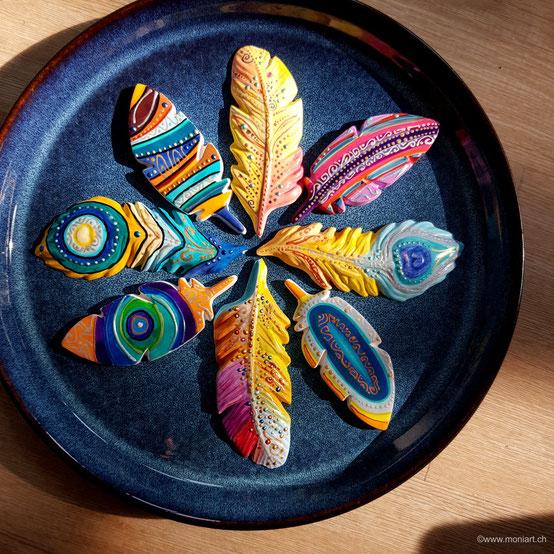 Federn bunt Kunst formen Farben