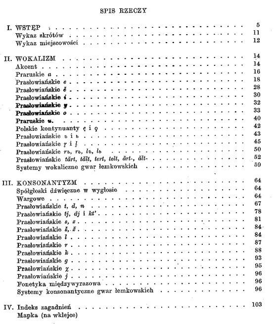 Dialekt Łemków : fonetyka i fonologia - spis treści