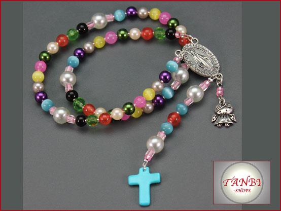 Kinderrosenkranz-Rosenkranz-Kinder-Kind-langer-Rosenkranz-Geschenk-Kommunion-Erstkommunion-Mädchen