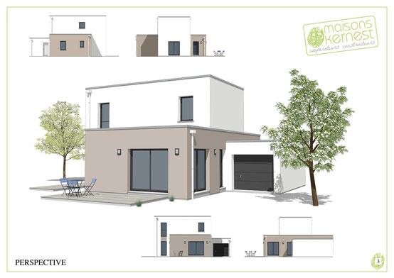 maison moderne à étage avec un toit terrasse et un enduit bicolore marron clair et blanc