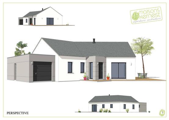 maison contemporaine de plain pied avec charpente traditionnelle et un enduit bicolore gris et blanc