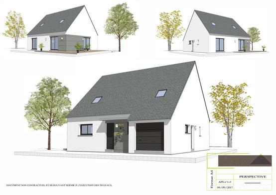 Maison à étage avec charpente traditionnelle et couverture en ardoises, enduit gris et blanc, 4 chambres