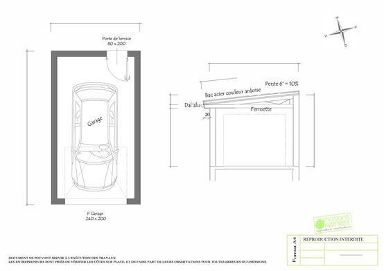 Plan maison plain pied 4 chambres COUPE GARAGE