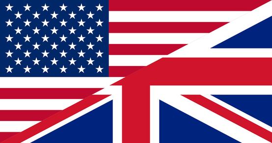 Symbolbild für unterschiedliche Varianten des Englischen: Flaggen für USA und GB