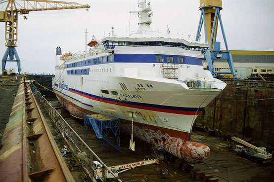 Barfleur in a dry dock in the mid-10s.