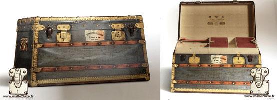 Special trunk for men  date: 1899 Dimension: 80 cm x 47 cm x 45 cm Zinc and brass steel clasps. Museum: Louis Vuitton