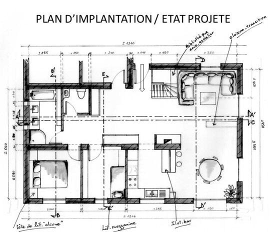 Plan d'implantation d'un rez de chaussée pour fluidifier la circulation, dégager de l'espace et apporter de la lumière naturelle.