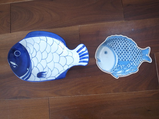 The right- The post card of old Imari ware(made at Mid 17th century in Japan), The left-DANSK fish plate made in Denmark