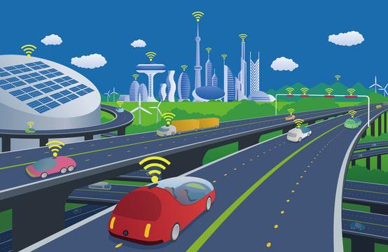 Autos mit WLAN, die über eine Autobahn fahren. Links von der Autobahn sind Grünflächen mit Windrädern, hohe Gebäude mit WLAN