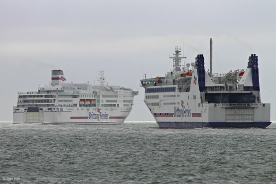 Barfleur leaving Portsmouth, following Pont Aven, heading to Santander on her last commercial sailing before being equipped with scrubbers.