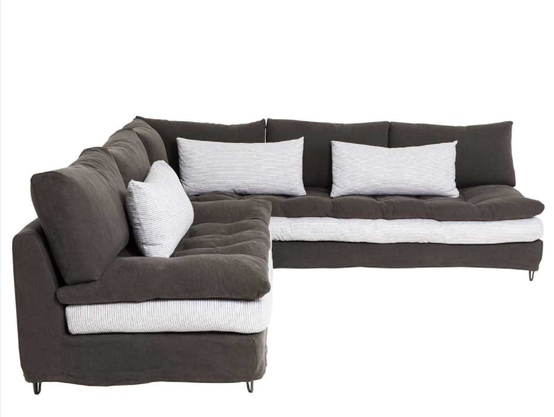 Brown Sauvage Linen with White Seating Cushion and Brown Topper