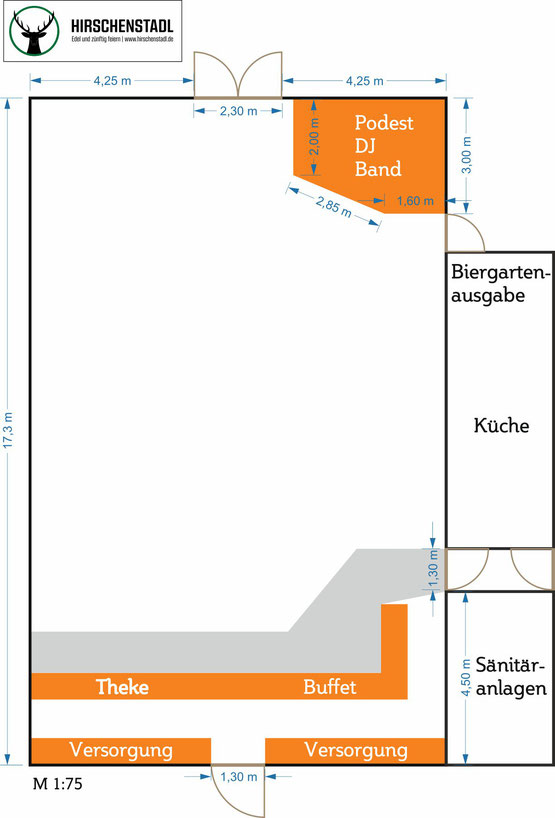 Feiern im Kirchheimer Hirschenstadl - Draufsicht Hirschenstadl unbestuhlt