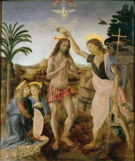 《キリストの洗礼》レオナルドとヴェロッキオの協働作品。