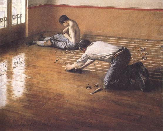 ギュスターブ・カイユボット《床削りの人々》1876年