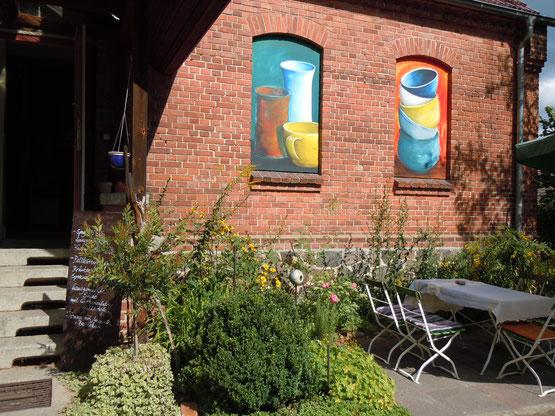 Ateliercafé in Wendisch Rietz am Scharmützelsee, Alte Dorfschule, Terrassenplätze, Keramikatelier