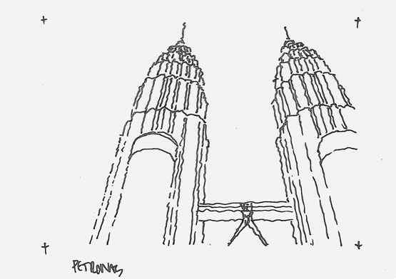 Petronas Towers, sketched by Heidi Mergl Architect